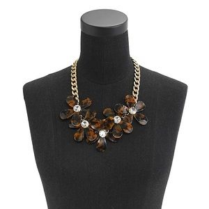 J. Crew Tortoise Flower & crystal necklace